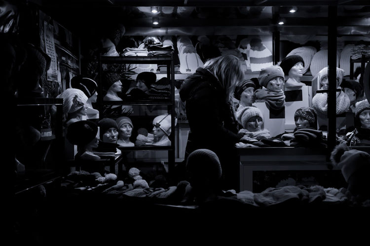 Film school II Absorbed Cyanotype Standing Choice For Sale Illuminated Indoors  Market Monochrome Night Occupation People Real People Retail  Shelf Standing Women