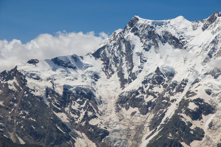 Panoramic view of monte rosa with snow on summer day of july