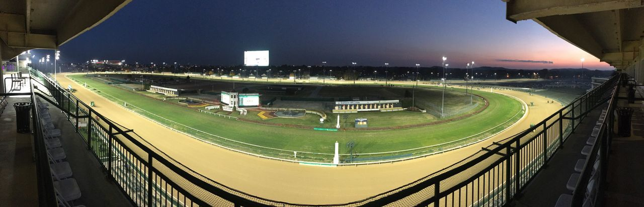 Churchill Downs Thoroughbred Louisville Is #1! High Angle View Illuminated