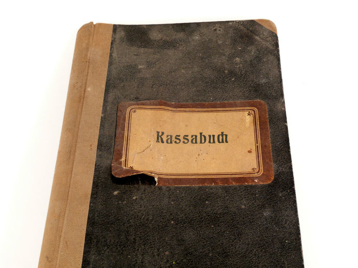 Antik Book Buch Buchführung Communication Day Indoors  Kassabuch Kassenbuch Leather No People Retro Styled Text White Background
