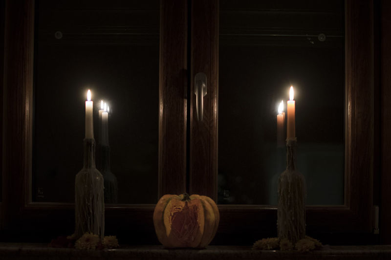 View of illuminated candles