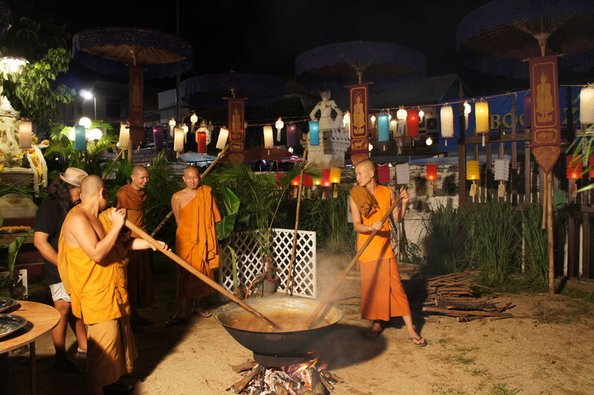 Adult Adults Only Buddhism Culture Illuminated Latern Festival Loy Krathong Men Monks Monks In Temple Night Outdoors People Religious  Ritual Spirituality Tradional Travel Unity Yi Peng Yi Peng Lantern Festival