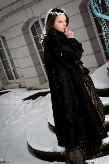 Be quiet and follow me Outside Christmas Snow Popular Photos Girl People Model Shooting Stairs