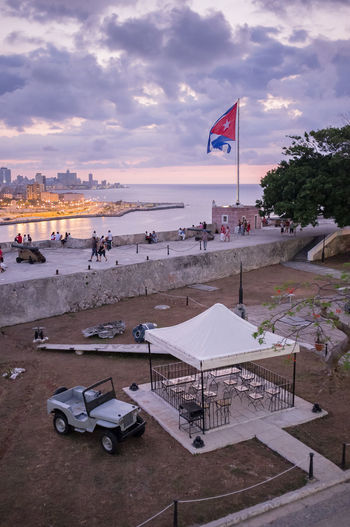 Exhibition with a plane shot down at the Bay of Pigs during the failed US invasion of Cuba, at La Cabaña fort, Havana. Cityscape Cuba Cuban Flag Fort Havana La Cabaña Sunset Tourism Travel Travel Destinations