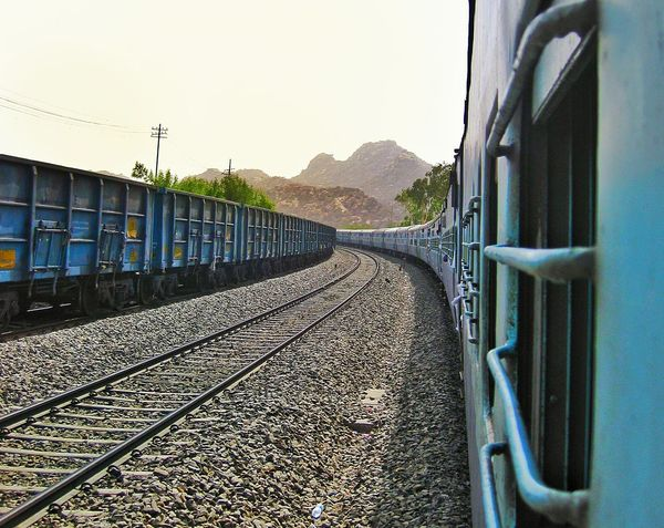 Sometimes it's the journey that teaches you a lot about the destination. ~ Drake Rail Transportation Railroad Track Transportation Blue Pattern India Rajasthan Marwar Journey Destination Mountain Landscape Transportation Mode Of Transport Rail Transportation Train - Vehicle Railroad Track Day Sky No People Railroad Station Platform Land Vehicle Outdoors EyeEmNewHere My Best Travel Photo