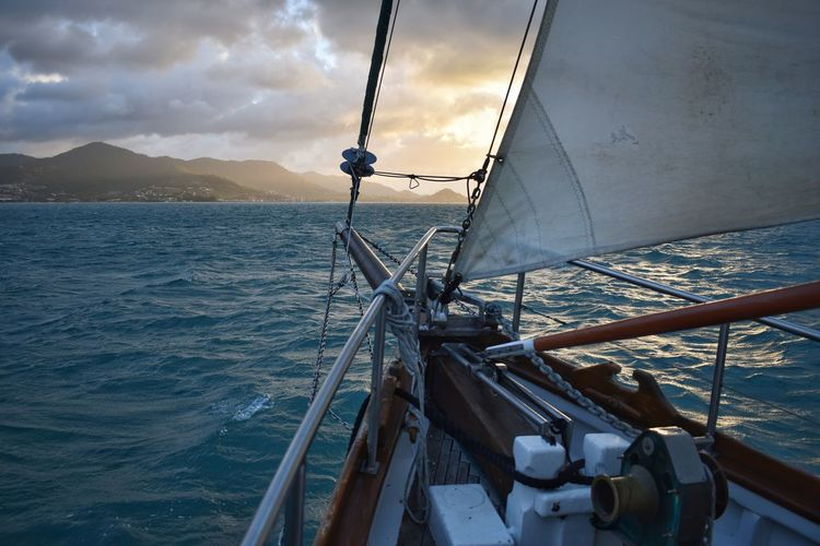 Nautical Vessel Sea Transportation Water Mode Of Transportation Sailing Sailboat Sky Travel Deck Cloud - Sky Nature No People Beauty In Nature Ship Boat Deck Motion Sailing Ship Yacht Yachting Wind Outdoors Luxury Passenger Craft