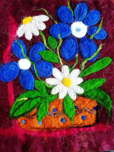 Multi Colored Flower Painted Image Celebration Paint Art And Craft Close-up