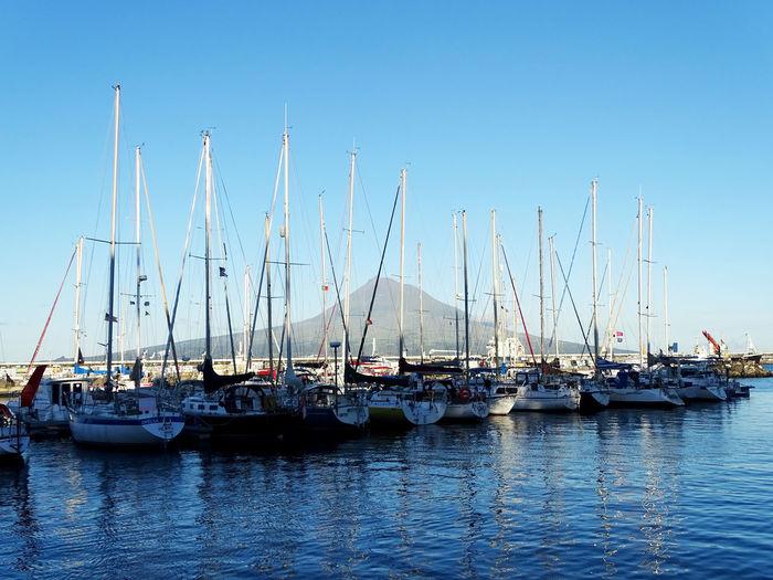 Nautical Vessel Transportation Water Sailboat Mast Harbor Waterfront Sea Yacht Marina Anchored Atlantic Ocean Azores