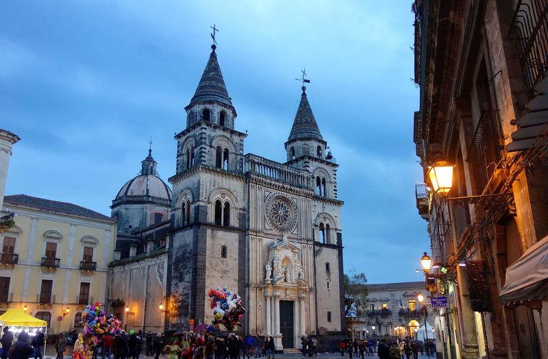 Church Tower Dome Acireale Catania Sicily Italy City Clock Face Illuminated History Sky Architecture Building Exterior
