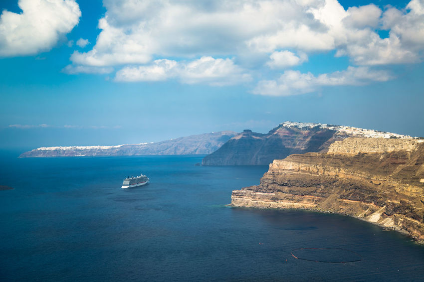 Relaxing at Santorini island, Greece Cruise Ship Greek Greek Islands Greek Summer Holiday Santorini Greece Santorini Island Santorini, Greece Vacations Beauty In Nature Cloud - Sky Cruise Fira Greece Nature Nautical Vessel Santorini Scenics Sea Summer Thira Tranquil Scene Tranquility Transportation Water