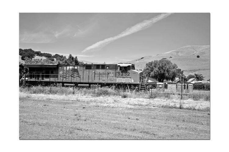 Freight Train 1 Union Pacific Railroad Intermodal Freight Transport Diesel Locomotive Cargo Rolling Stock Freight Train Passes Through Niles Canyon Monochrome_Photography Monochrome Black & White Black & White Photography Black And White Black And White Collection  Railroad_Photography Train_Photography 2nd Largest Freight Railroad In USA Landscape Landscape_Collection Built Structure Countryside Chainlink Fence Grassland