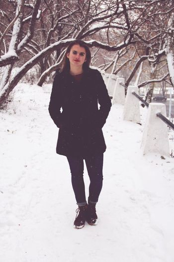 By my friend❤️ Full Length One Person Front View Standing Looking At Camera Winter Young Adult Snow Fashion Lifestyles Portrait Real People Cold Temperature Warm Clothing Tree Outdoors Day Nature Young Women Posing