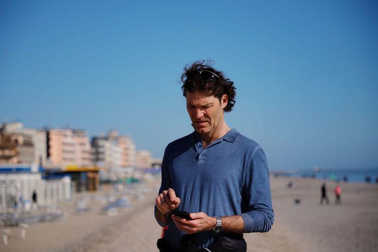 Man Beach Blue