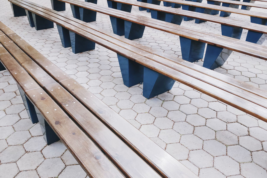 Bench Lines Perspective Benches Day Hexagons High Angle View No People Outdoors Pattern Perspective View Seats Tiled Floor Tiles