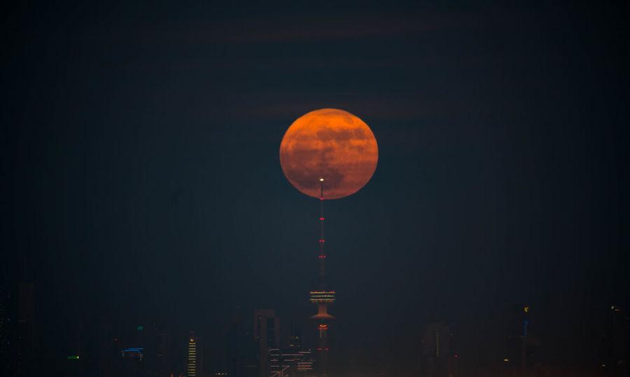 Astronomy City Giant Moon Night Orange Color Sky