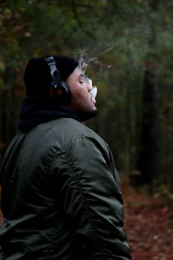 Woods Portraits EyeEmNewHere Portrait Man Smoke DOPE Popular Photos Cool EyeEm Selects Adult Adults Only One Person Forest People Only Men One Man Only Headshot Outdoors Nature Men