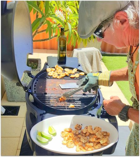 Backyard BBQ Time Chuck Some Prawns On The BBQ Food Food And Drink Food Photography Freshness Healthy Eating Lime Prawns Tong Yummy Enjoy The New Normal