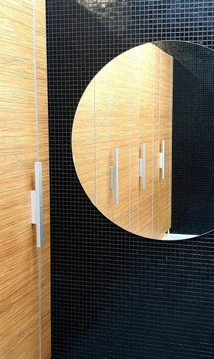 Indoor view with round mirror