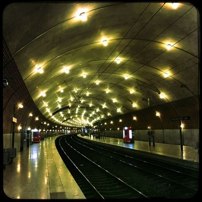 HipStation of Montecarlo Architecture Chemin De Fer Gare Hipstamatic Hipstography Illuminated Indoors  Inside Love81 Montecarlo Public Transportation Railroad Station Railroad Station Platform Railway Railway Station Railwaystation Ruddy Ruddy Lens Transportation