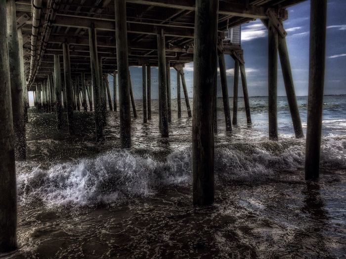 Under the Pier at Old Orchard Beach Waves, Ocean, Nature Surf Waves Crashing CarolSharkeyPhotography Maine