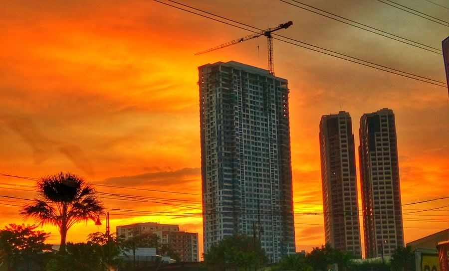 Sunrise :) Sunset Orange Color Skyscraper Dramatic Sky Sky Cloud - Sky Business Finance And Industry Modern Dusk Architecture Steel Built Structure Urban Skyline No People Illuminated Backgrounds Silhouette Nature Building Exterior City
