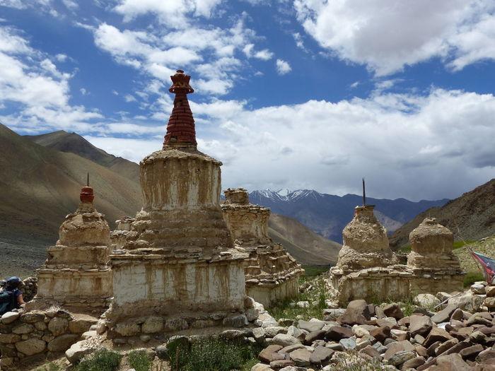 Stupas of building against cloudy sky