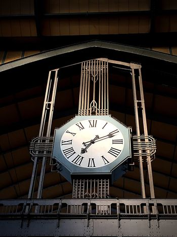 Clock Time Roman Numeral Indoors  Clock Face No People Low Angle View Built Structure Architecture Hamburg City Centralstation Station Travel Architecture Low Angle View Tourism Light And Shadow Indoors  Travel Destinations