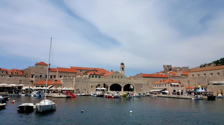 EyeEm Nature Lover Landscape Oldtown History Architecture Old Buildings Building Exterior Built Structure Sea Side Sea And City Sky And Sea Sky And Clouds Color Marine Bosts Water Day Tranquil Scene Travel Photography Dubrovnik, Croatia