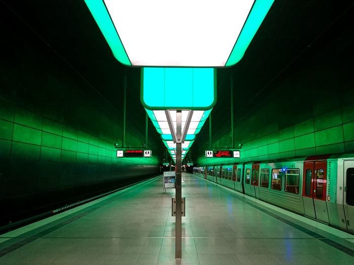 Hamburg subway Architecture Day Deutschland Germany Hamburg Illuminated Indoors  No People Railroad Station Railroad Station Platform Subway Train Transportation Travel