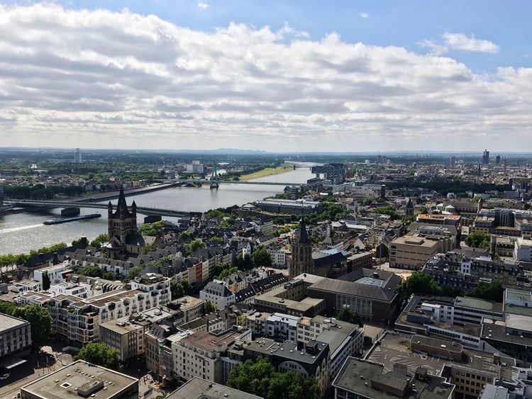 Cologne River Rhine Architecture Cityscape Built Structure Sky Cloud - Sky High Angle View Building Exterior Day City Outdoors Water No People Aerial View Horizon Over Water Nature