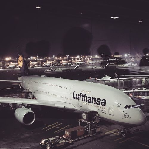Airport Flying Stop Over Mood Lights Business Travel Business Trip Travel Frankfurt Busy Waiting Window A380 Lufthansa Plane Aeroplane Departure Reflection Transportation Mode Of Transportation Illuminated Night Text Architecture Airplane Airport Air Vehicle