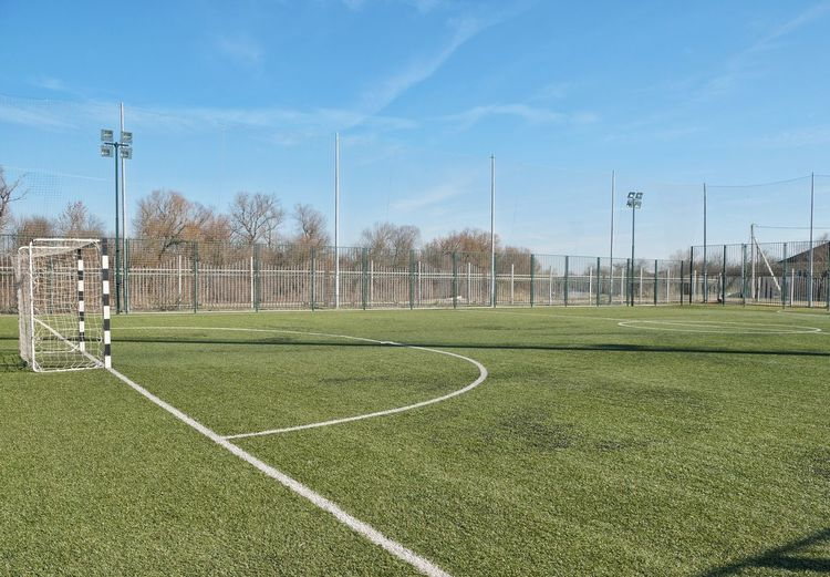 Soccer Field Goal Post Sport Soccer Track And Field Stadium Sky Grass Green Color Soccer Goal Net - Sports Equipment Playing Field