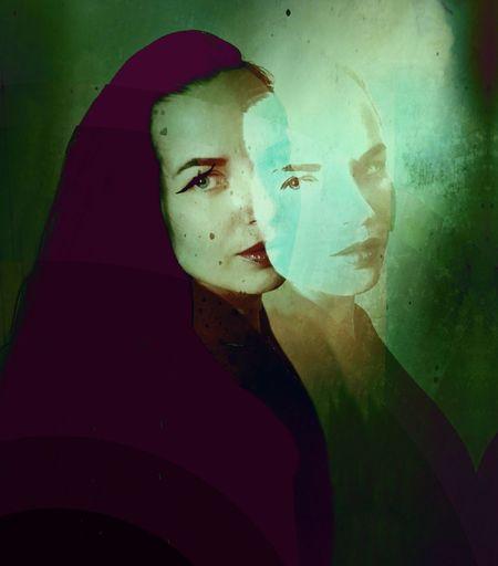 Digital composite image of woman