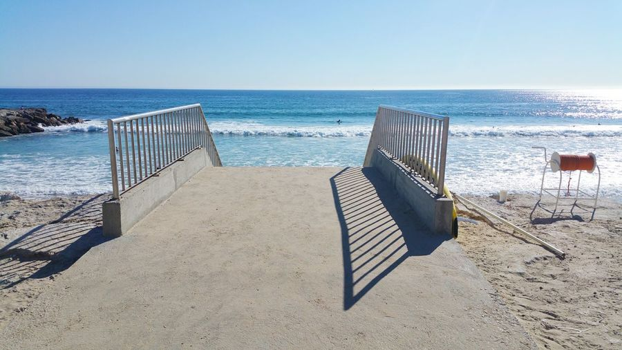 Railing By Sea Against Clear Sky