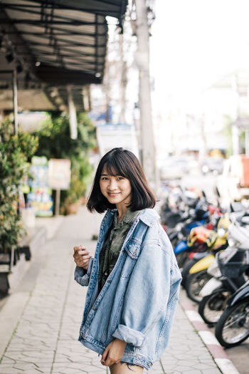 pretty girl Architecture Beautiful Woman Casual Clothing City Focus On Foreground Front View Hair Hairstyle Leisure Activity Lifestyles Looking At Camera One Person Outdoors Portrait Real People Standing Street Transportation Women Young Adult Young Women