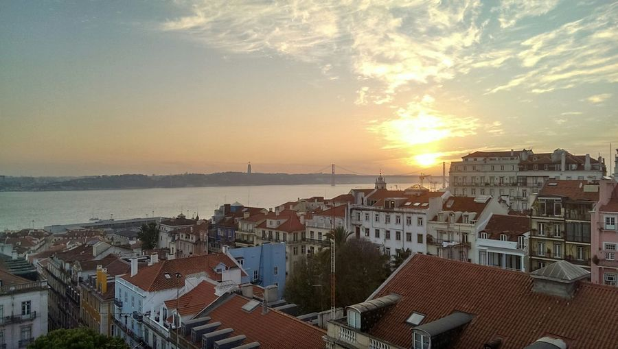 View on Chiado district and Tagus River in Lisbon Portugal Sunset Sky Clouds Rooftops The Purist (no Edit, No Filter) Urban Landscape Bridge