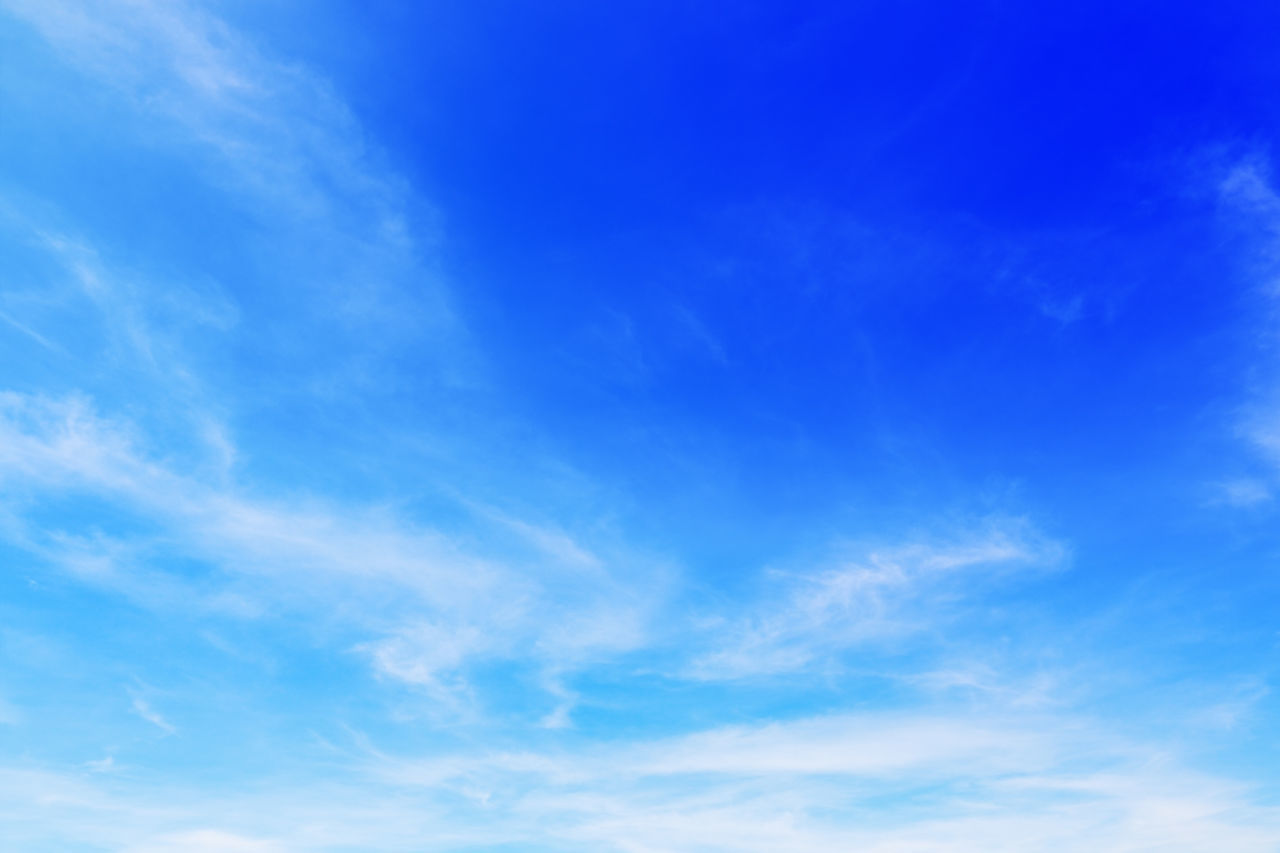blue, sky, cloud - sky, beauty in nature, low angle view, no people, tranquility, backgrounds, nature, scenics - nature, day, tranquil scene, white color, outdoors, full frame, idyllic, sunlight, environment, meteorology, clean, wispy