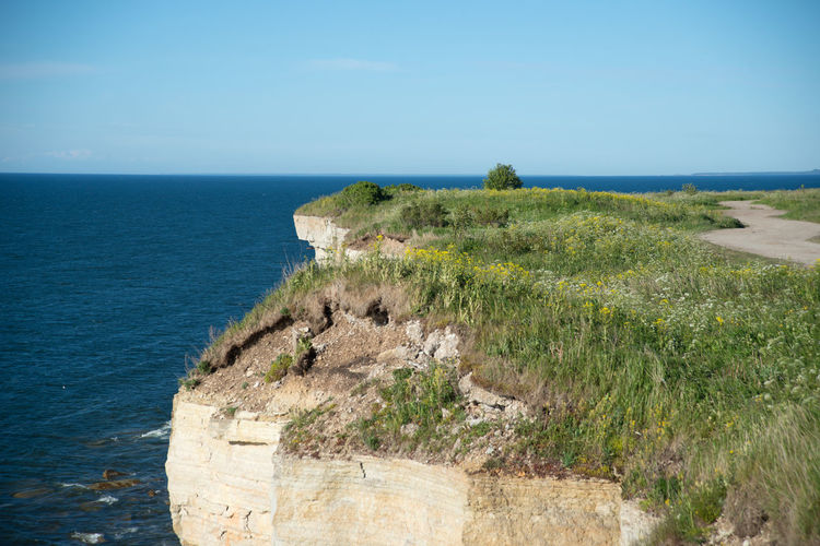 Idyllic Shot Of Cliff In Baltic Sea Against Sky