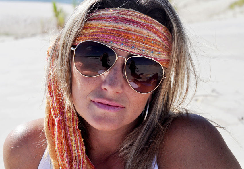 Brazilian Woman Mature Women Portrait Looking At Camera Headshot Young Women Water Front View Sunglasses Close-up Human Lips Lipstick This Is My Skin