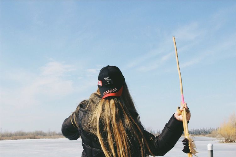 Sky Leisure Activity Lifestyles Day Outdoors Winter Snow Standing Nature Throwing  Arrow Winnipeg Canada