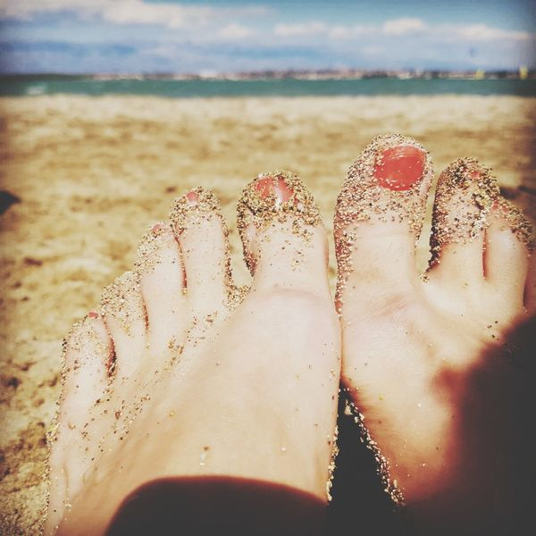 Beach Sand Water Low Section Human Leg Human Body Part Sea Close-up Outdoors Relaxation Leisure Activity Day Only Women Adult One Person Nature Foot Red Color Rednails On The Beach EyeEmNewHere Beauty One Woman Only Sky Adults Only