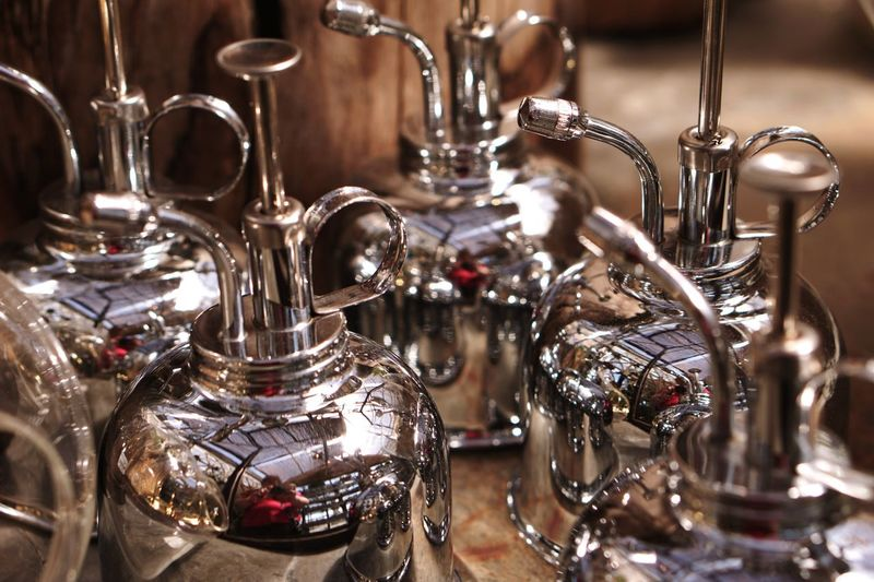Misting Reflections Pattern Colorful Bottle Still Life Rows Of Things Metal Shiny Reflective Surfaces Silver