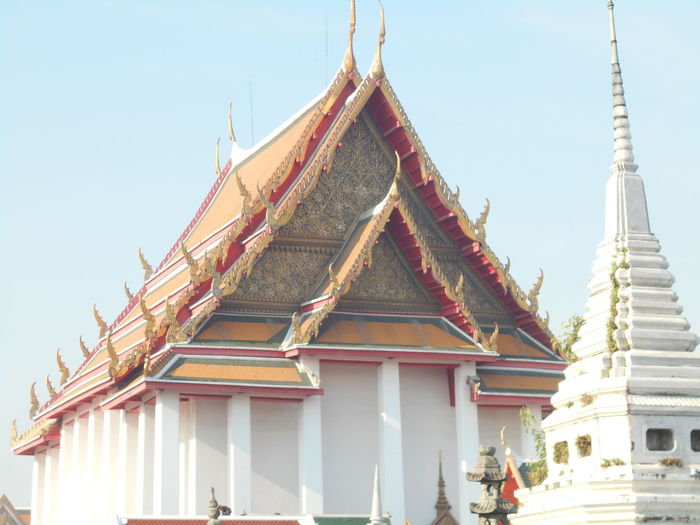 Architecture Bangkok Thailand. Built Structure Clear Sky Day Gold Colored No People Outdoors Religion Sky Spirituality Temple&Chedi Travel Destinations Wat Kanlayanamit