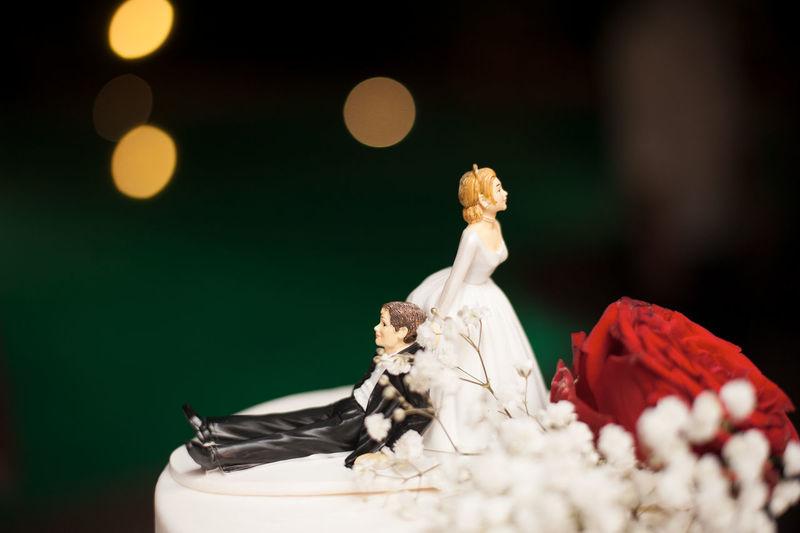 Close-up of figurines on wedding cake