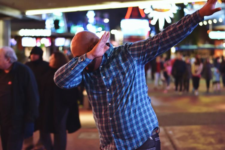 Funny Silly Pose Dab Incidental People Focus On Foreground Real People Night Men Performance Large Group Of People People Fan - Enthusiast Adult Human Hand Outdoors Illuminated Popular Music Concert Togetherness Nightlife Crowd Audience Only Men