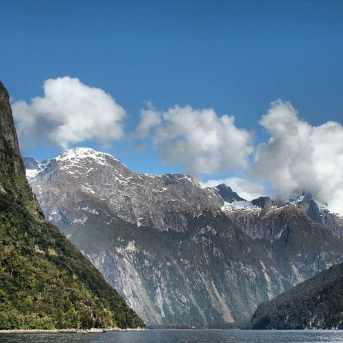 Milford Sound New_Zealand NZ Clouds Cloudporn Rock Mountains Sky Blue Peaceful Nature Landscape Scenery Amazing View Travel Tourist Beautiful TBT  Old_photo Water Good_times Photooftheday Visitnz