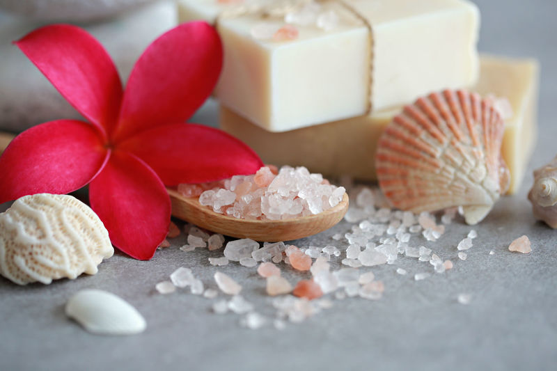 Aromatherapy Bath Salt Spoon Therapy Wellness Beauty In Nature Bodycare Essential Oils Flower Healthy Lifestyle Massage Rejuvenation Relaxing Moments Sea Salt Seashell Soap Spa Spa Treatment Stone