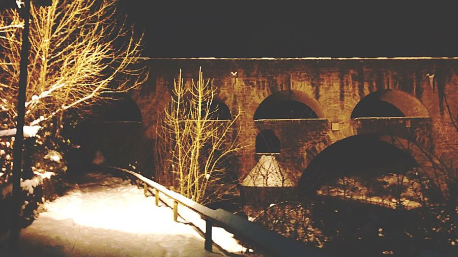 View Nightphotography Darkness And Light Snow Wintertime Bridge