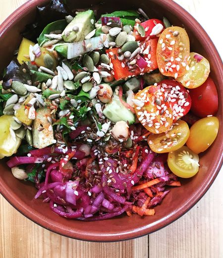 Vegetarian Food Rainbow Food Rainbow Salad Salad Bowl Food And Drink Food Photography Food Photos Rustic Food Photography Superfood Salad Bowl Food Healthy Eating Food And Drink Freshness Wellbeing Fruit Vegetable Directly Above Salad Ready-to-eat