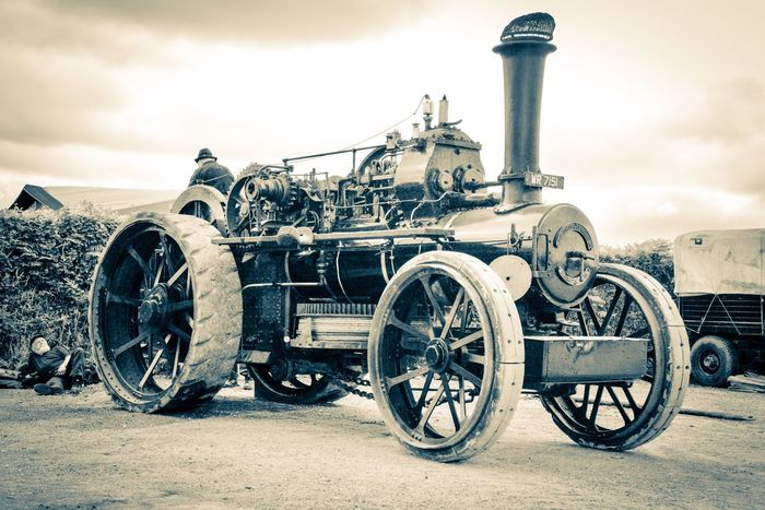 Steam ploughing engine Cornish Life Cornwall Sepia Vintage Ploughing Machine Steam Engine Traction Engine Transportation Sky Mode Of Transportation Cloud - Sky Nature Day Old Metal Outdoors Stationary History Wheel Land Vehicle